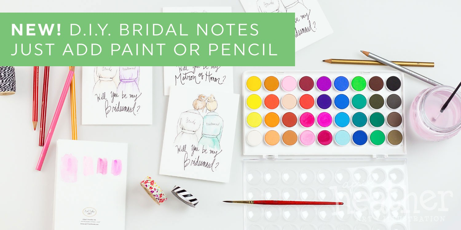 Color In Bridesmaid Cards  | April Heather Art