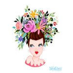 Head Vase Floral Brown Hair