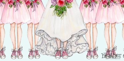 Bride with Pink Sneakers - April Heather Art