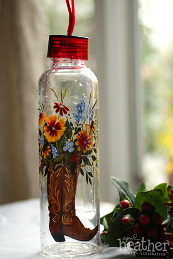 Evergreen Glass Bottle - April Heather Art