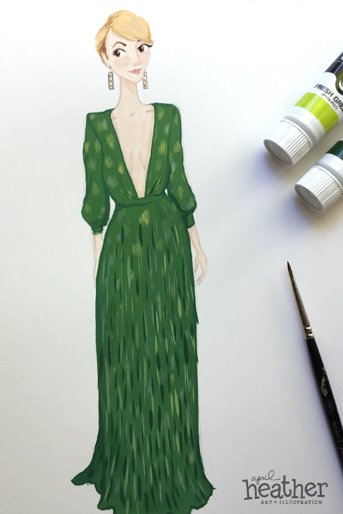 Green Dress - April Heather Art