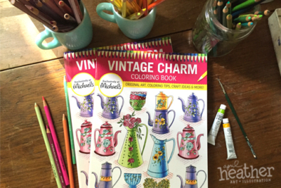 Vintage Charm Coloring Book - April Heather Art