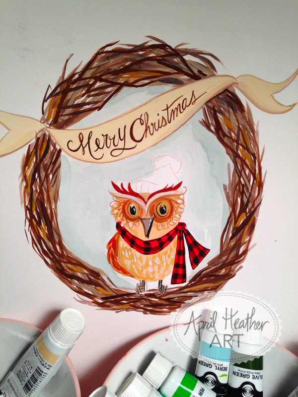 Merry christmas woodland owl
