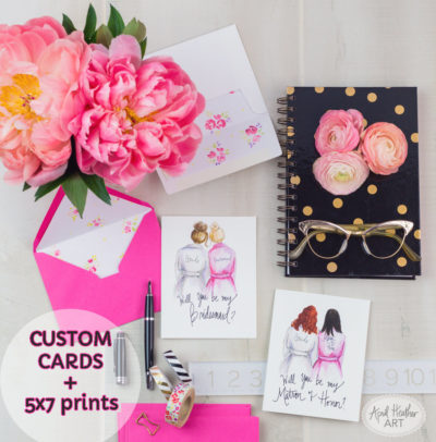 Custom Bridal Party Cards from April Heather Art