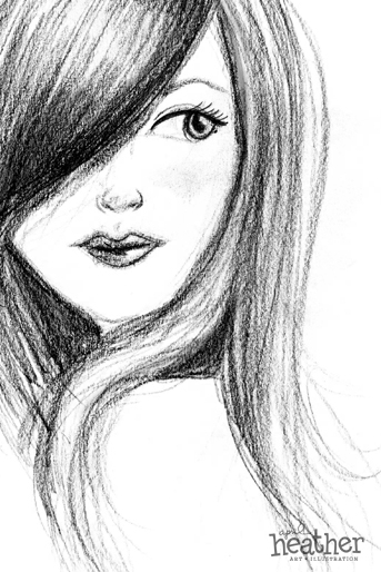 Hair Sketch - April Heather Art