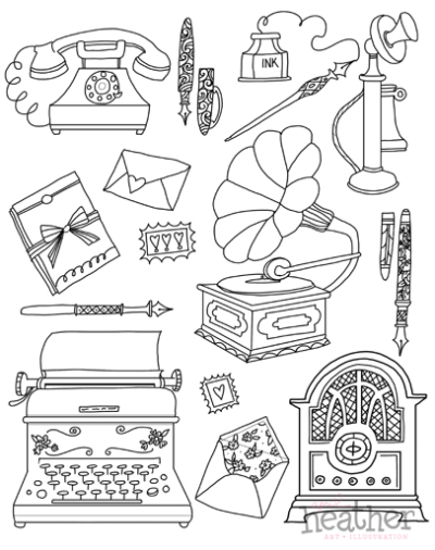 Vintage Charm Coloring Book Page