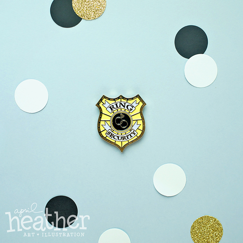 April Heather Art - Ring Security Pin Badge
